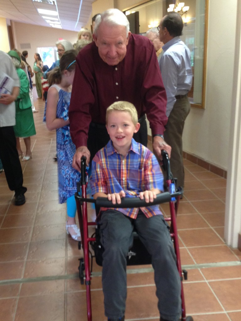 Grandson in wheelchair
